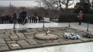 Wreath laying at JFK memorial at Arlington Cemetery